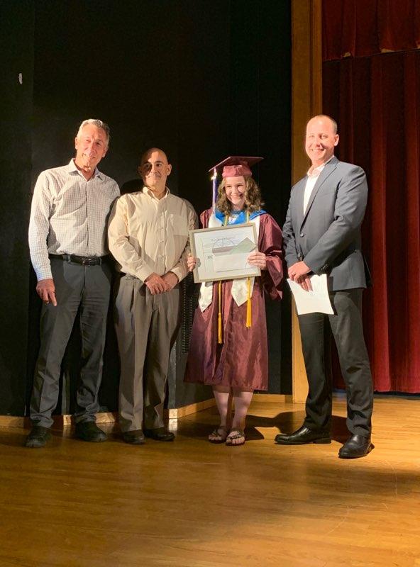 Joe, Peter, and Kevin award Ludlow High School recipient Moira O'Sullivan