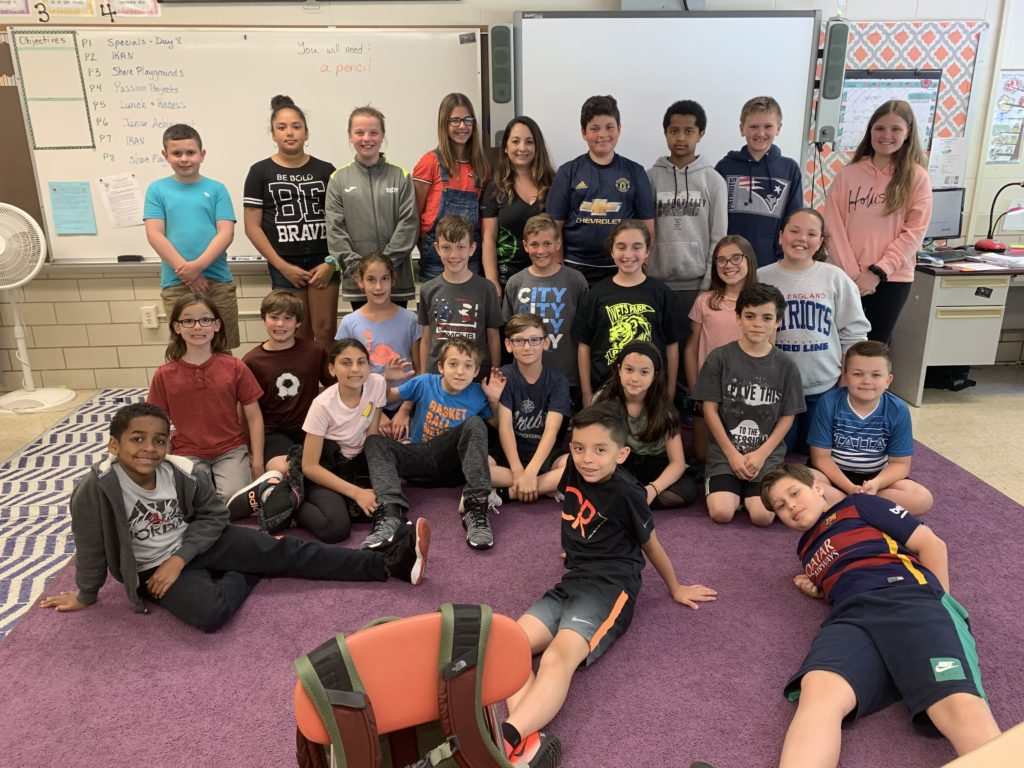 Linda and her class at Veterans Park Elementary School