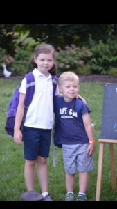 Isabel and George on their 1st day of school.
