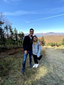 Antonio and his girlfriend Carly at the top of Mount Snow in the fall where they ski/snowboard every winter.